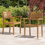 Stanford Outdoor Teak Finish Acacia Wood 7 Piece Dining