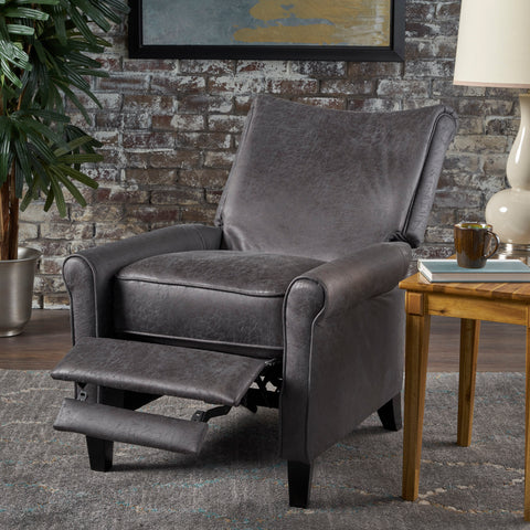 Charlene Traditional Slate Microfiber Recliner Chair