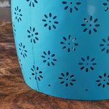 Sulah Modern Floral Lace Cut Iron Drum Shaped Accent Table