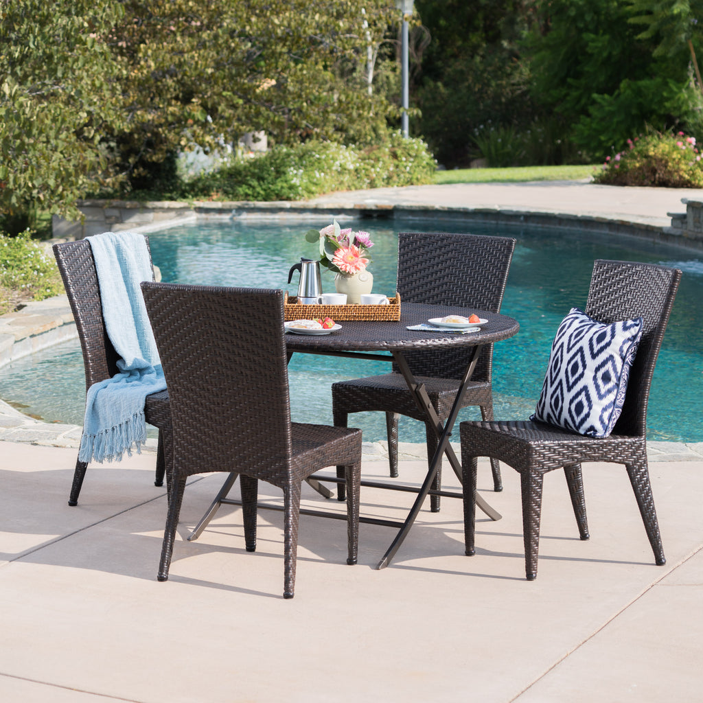 Abbey Outdoor 5 Piece Multi Brown Wicker Dining Set With