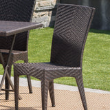 Adia Outdoor 7 Piece Multi-brown Wicker Dining Set with Foldable Table