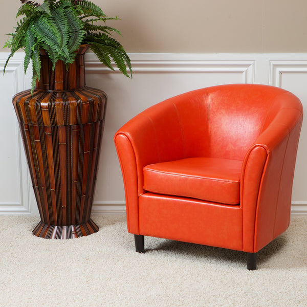 Newport Orange Leather Club Chair