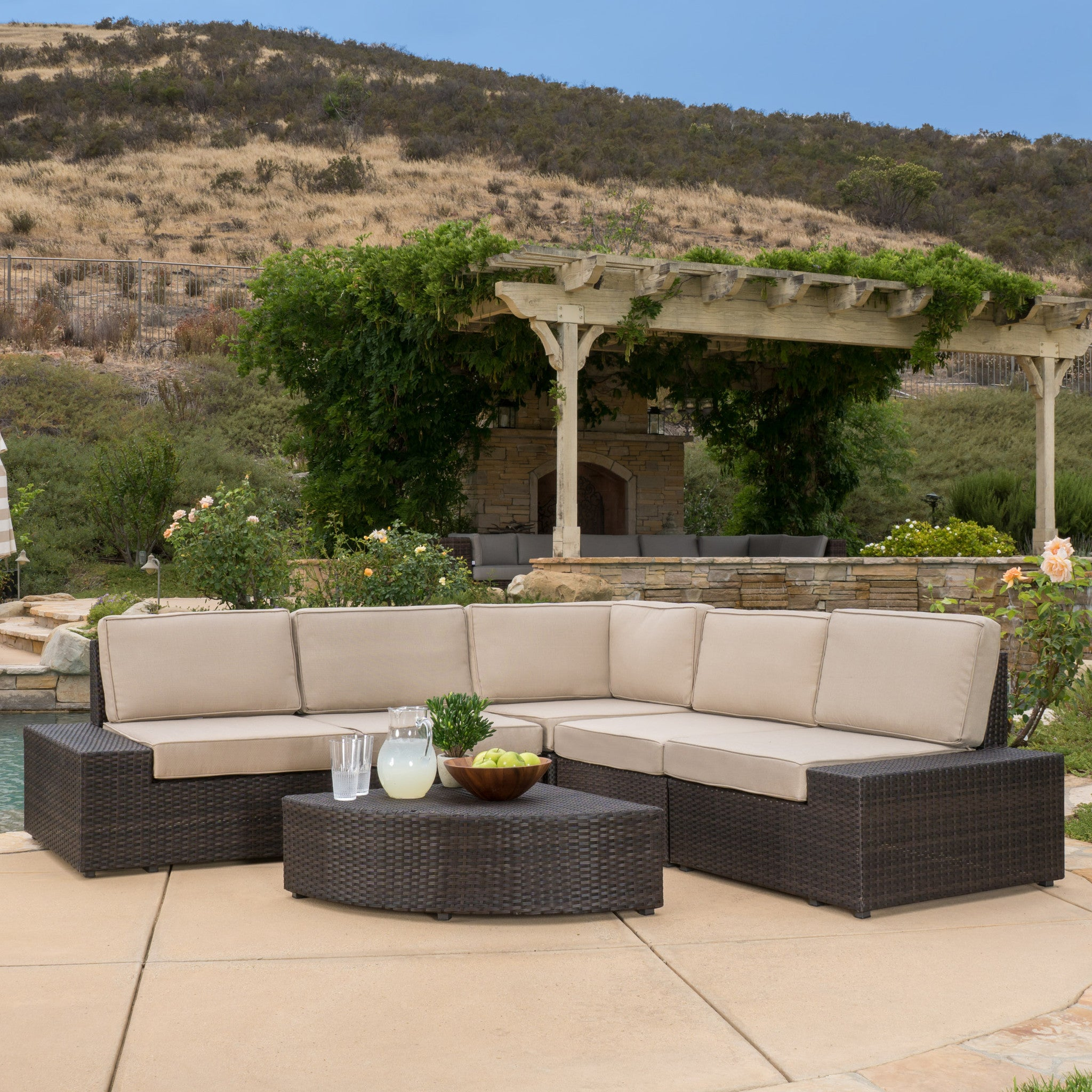 Reddington Outdoor Brown Wicker Sectional Seating Set Pic