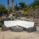 Reddington 6pc Outdoor Grey Wicker Sectional Set