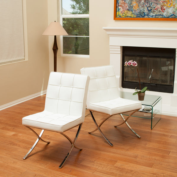 Pandora Modern Design White Leather Dining Chairs (set of 2)