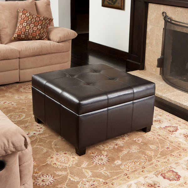 Boston Espresso Brown Tufted Leather Storage Ottoman