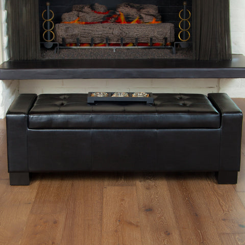 Rothwell Black Leather Storage Ottoman Bench