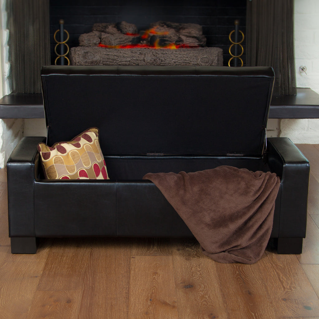 Ottomans Brussels Brown Bonded Leather Storage Chest: Rothwell Black Leather Storage Ottoman Bench