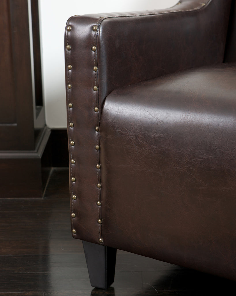 Nottingham Tufted Brown Leather Club Chair