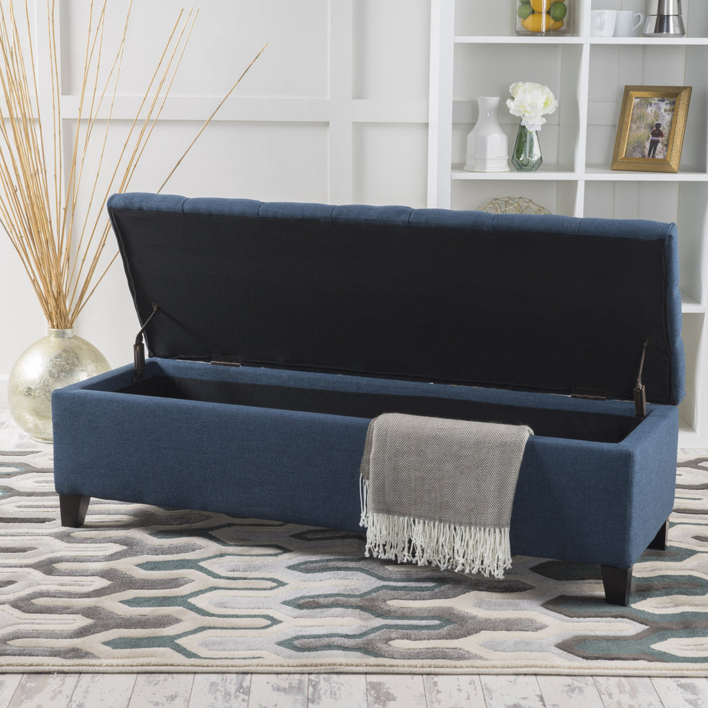 Molle Contemporary Button-Tufted Fabric Storage Ottoman Bench