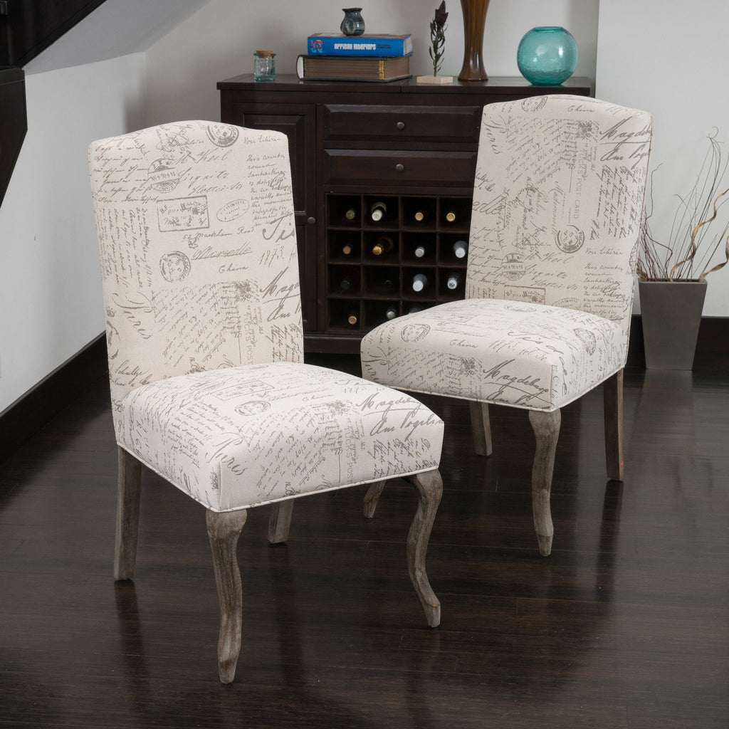 crown back french script beige fabric dining chairs set of 2 gdf
