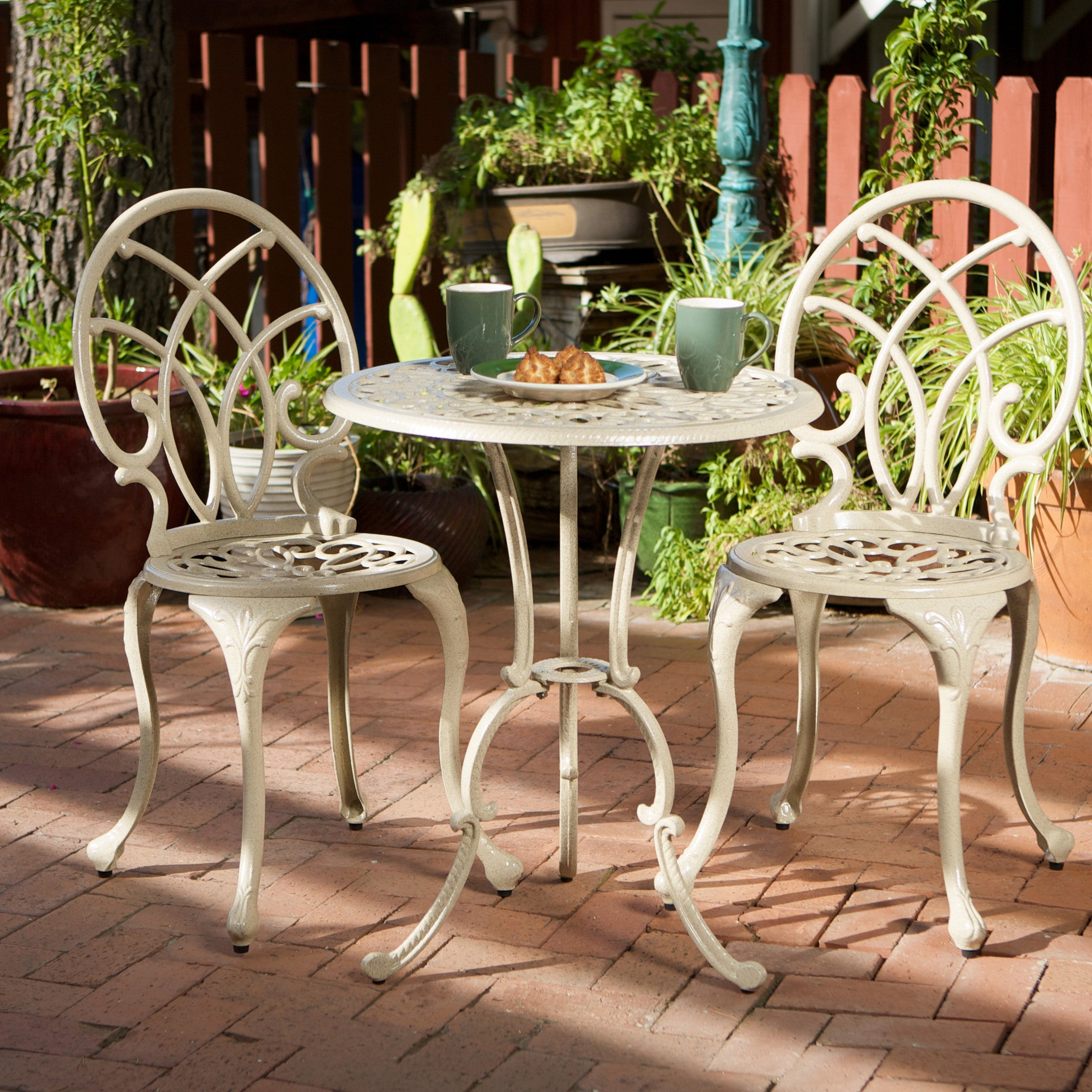 Gdf Studio Outdoor Cast Aluminum Bistro Set Andover