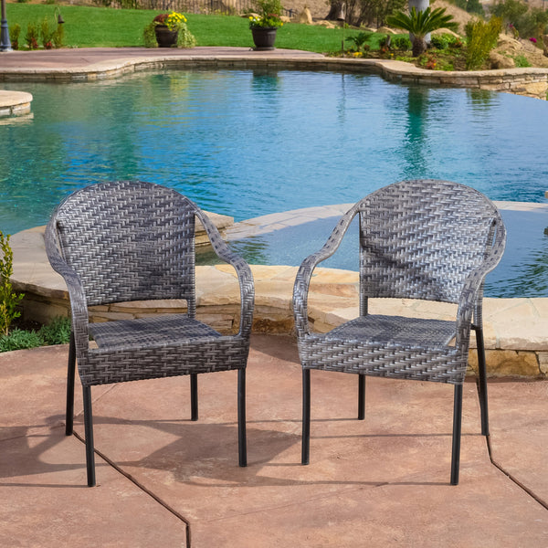 Livingston Outdoor Grey Wicker Chair Set Of 2 Gdf Studio