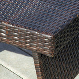 Lakeport Outdoor Brown Wicker Folding Side Table
