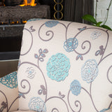 Roseville Scrolled Back Floral Print Fabric Club Chair