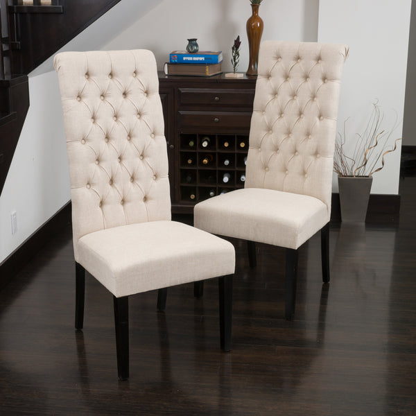 Charley Tall Dark Beige Tufted Dining Chairs Set Of 2