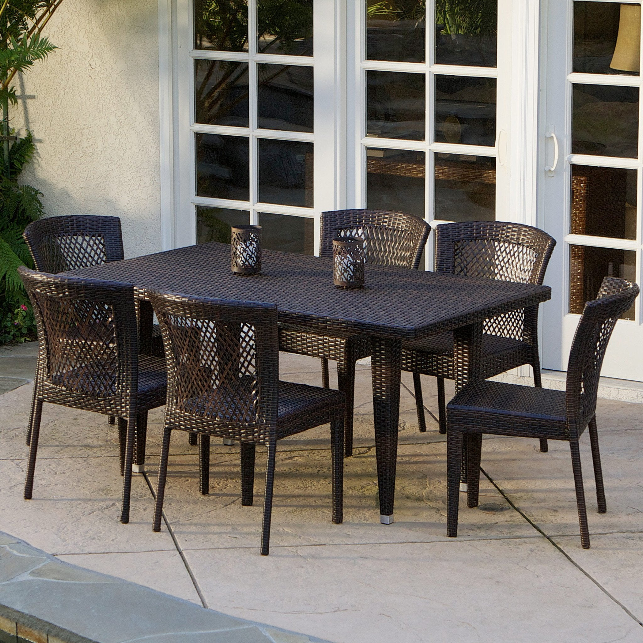 Point Outdoor Patio Furniture Brown Wicker Dining Set foto