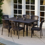 Dana Point 7-pc Outdoor Patio Furniture Brown Wicker Dining Set