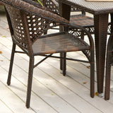 Louisiana 7-Piece Brown Outdoor Wicker Dining Set