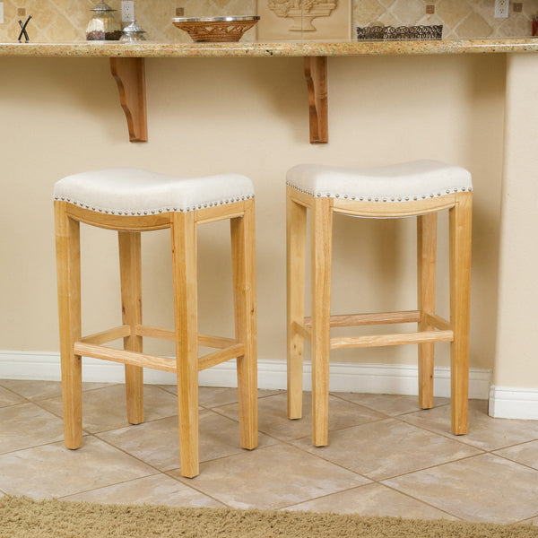 Jaeden Beige Backless 30-Inch Bar Stools (Set of 2)