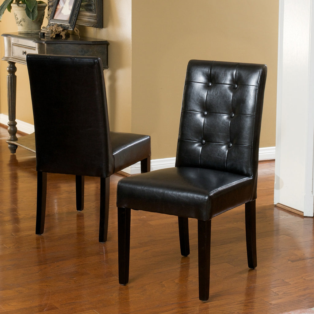 Gillian Contemporary Button Tufted Black Bonded Leather Dining Chairs (Set of 2)