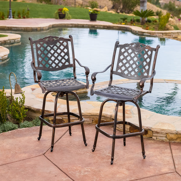 Pomelo 30-Inch Outdoor Cast Aluminum Bar Stools (Set of 2)
