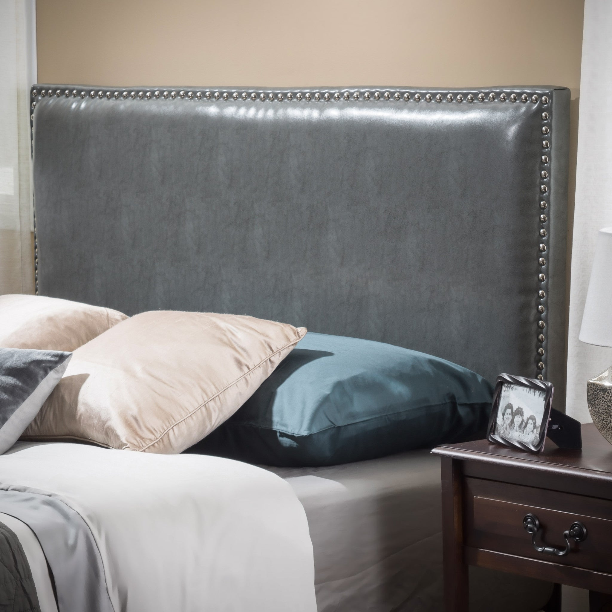 Westin Full To Queen Size Grey Leather Headboard Great