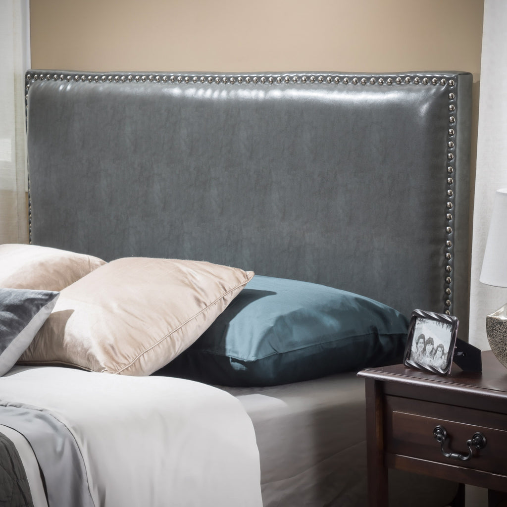 Westin Full To Queen Size Grey Leather Headboard Gdfstudio