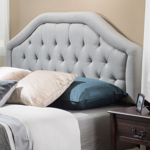 Celina Queen to Full Sized Adjustable Light Grey Fabric Headboard