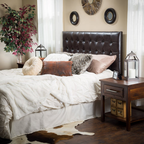 Denise Austin Home Lucca Tufted Bonded Leather King/Cal King Headboard