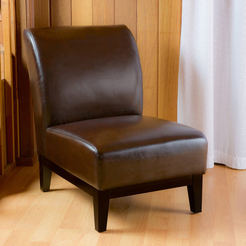 Brakar Contemporary Brown Leather Armless Slipper Chair with Tapered Legs