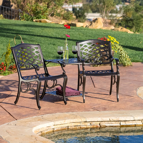 Prague Outdoor Cast Aluminum 2-Seater Set