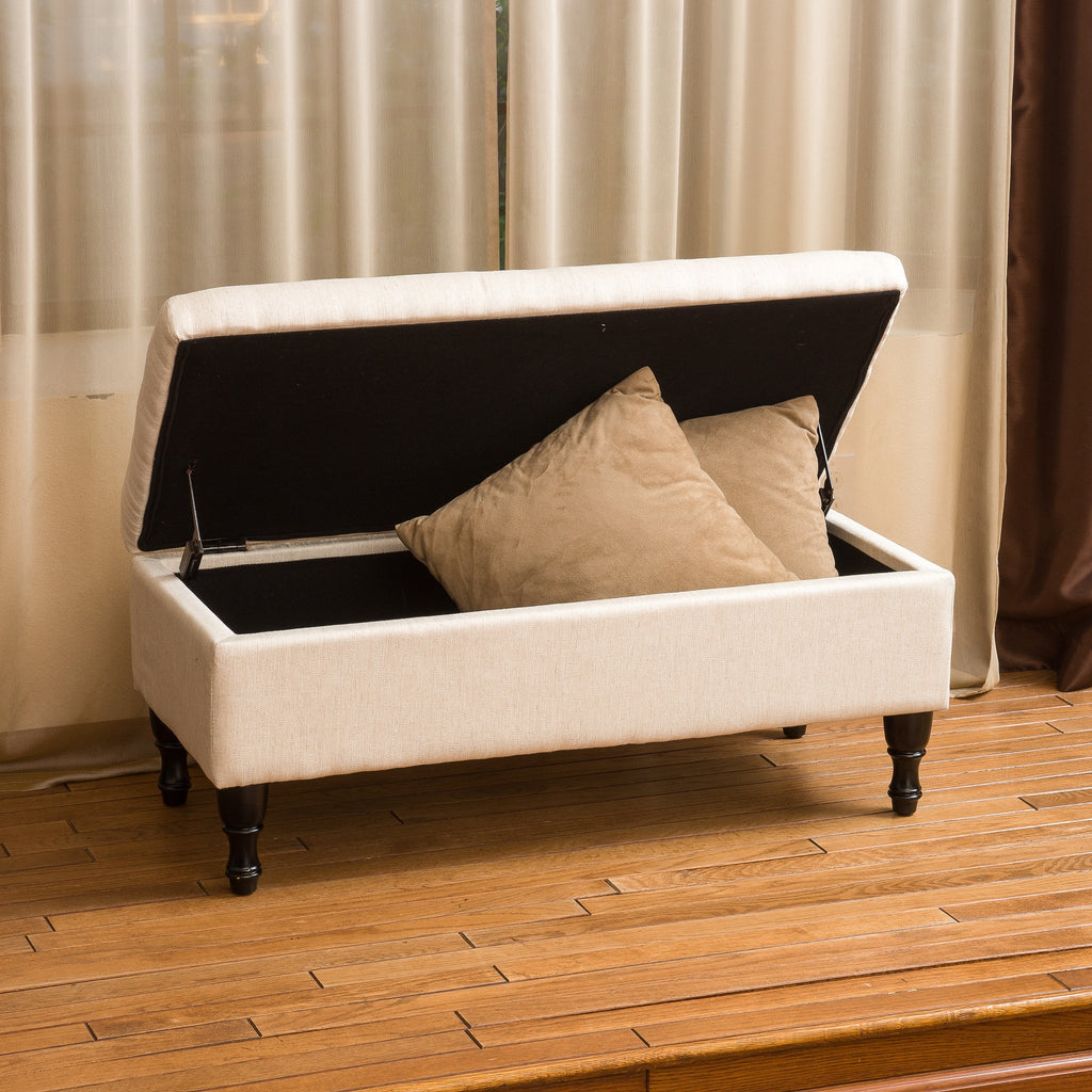 Logan Linen Storage Ottoman Bench