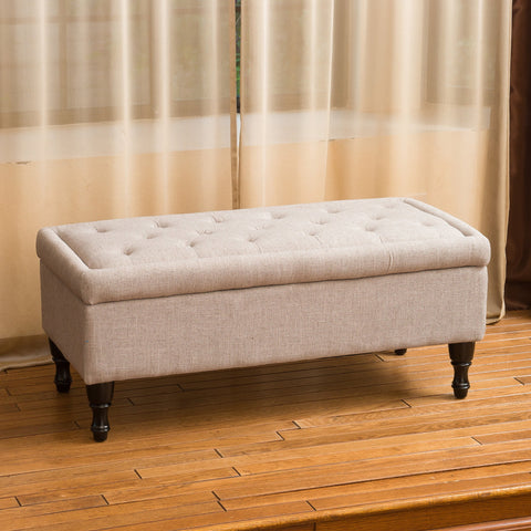 Logan Grey Fabric Storage Ottoman Bench