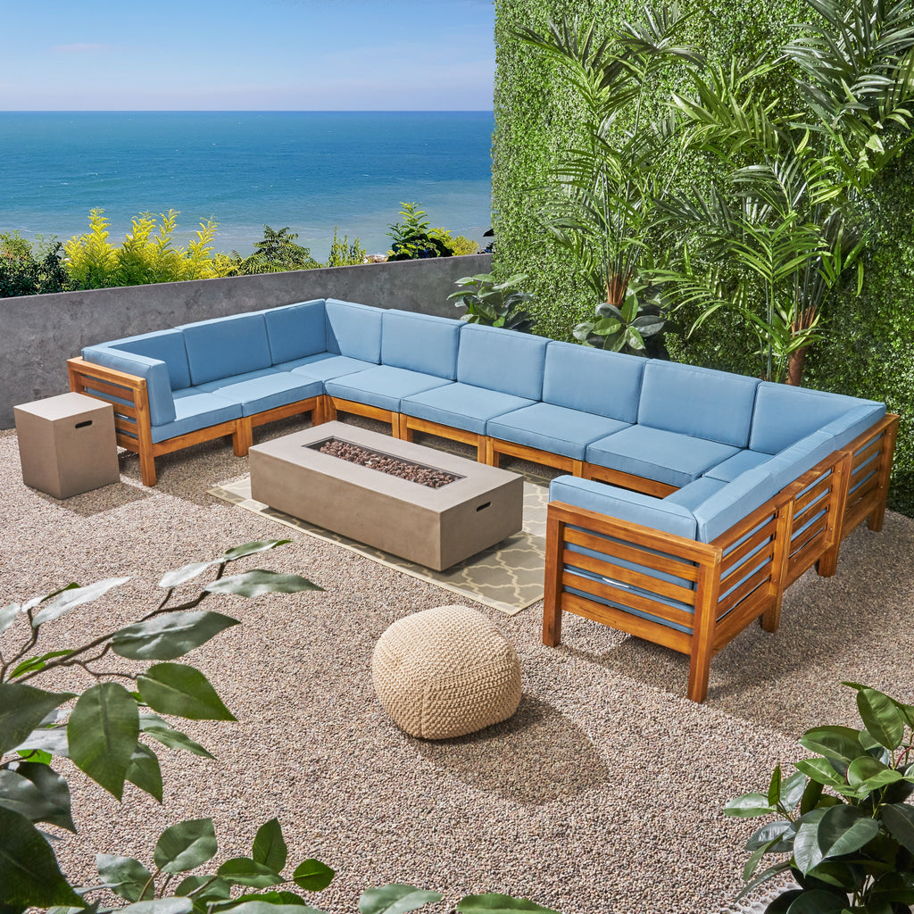 Ravello Outdoor 12 Piece U-Shaped Sectional Sofa Set with Fire Pit