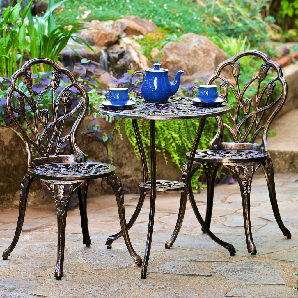 New England Cast Aluminum Outdoor Bistro Set Gdf Studio