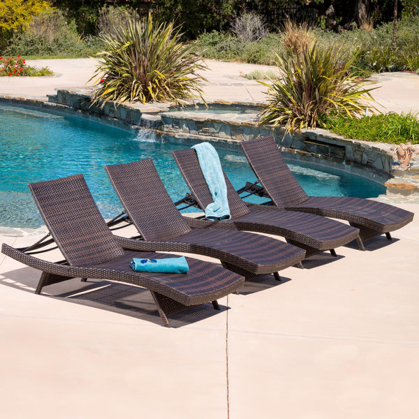 Lakeport Outdoor Adjustable Chaise Lounge Chairs Set Of 4