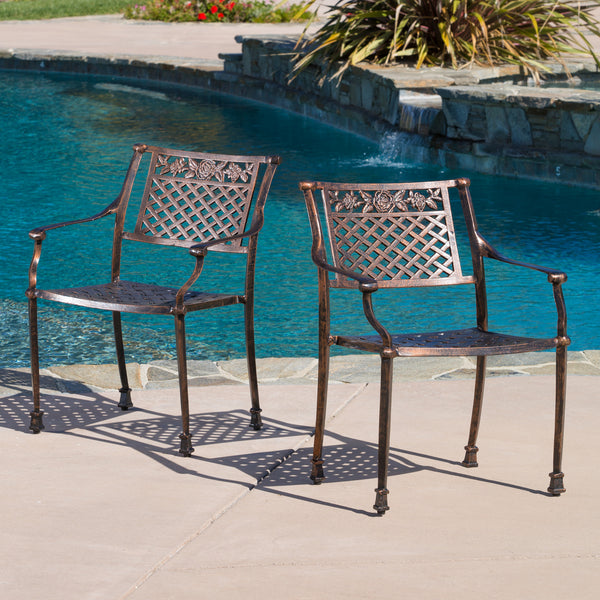 Sierra Outdoor Cast Aluminum Dining Chairs (Set of 2)