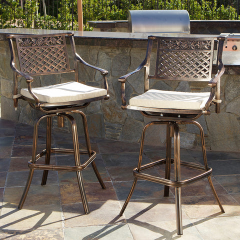 Sierra 30-Inch Outdoor Cast Aluminum Swivel Bar Stools w/ Cushion (Set of 2)