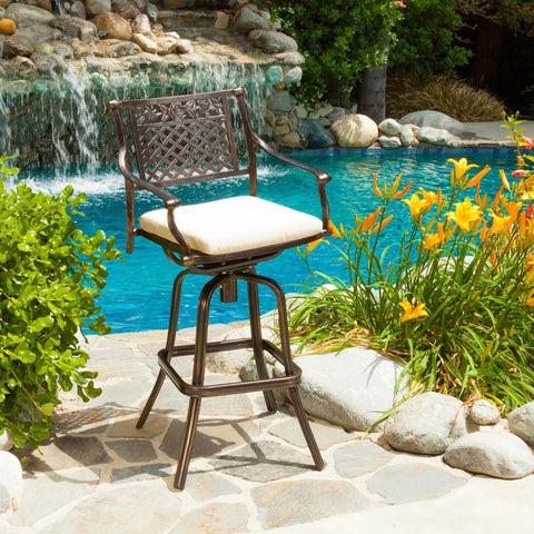 Sierra Outdoor Cast Aluminum Swivel Bar Stool w/ Cushion