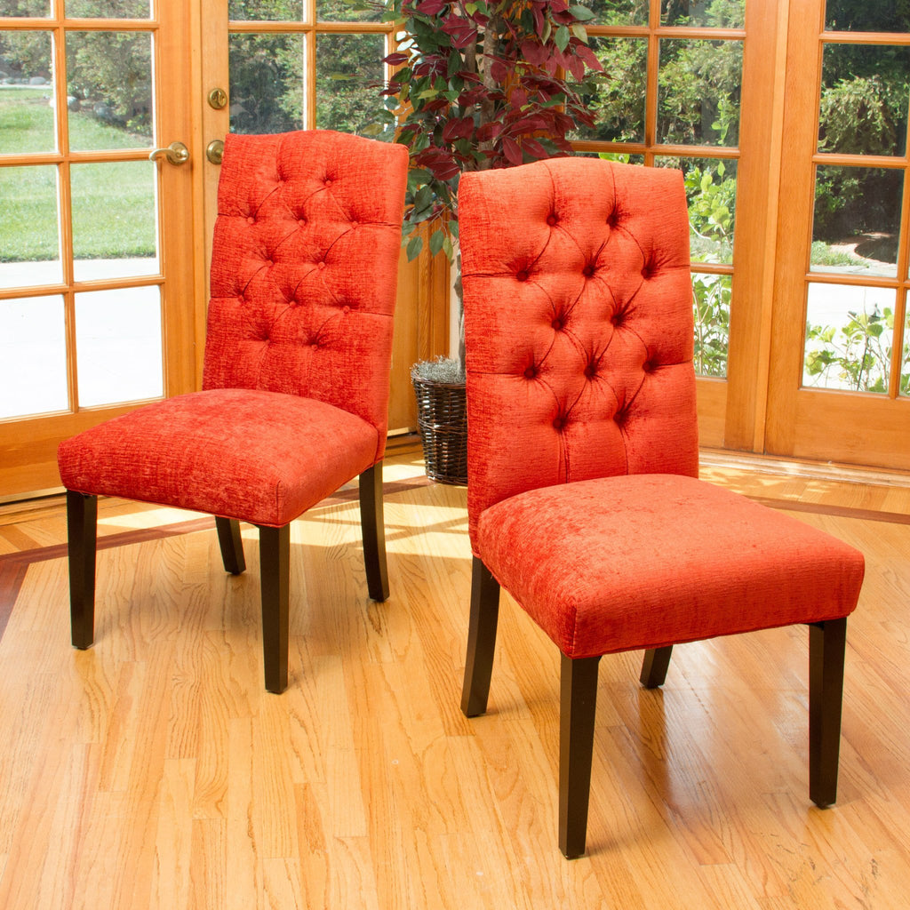 Clark Button Tufted Fabric Dining Chair with Tapered Legs, Set of 2