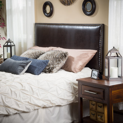 Alonzo Queen to Full Sized Brown Leather Headboard