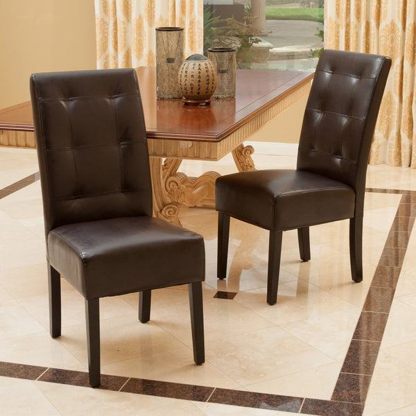 Set Of 2 Dining Room Furniture Tufted Brown Leather Dining: Haynes Brown Leather Dining Chairs (Set Of 2)