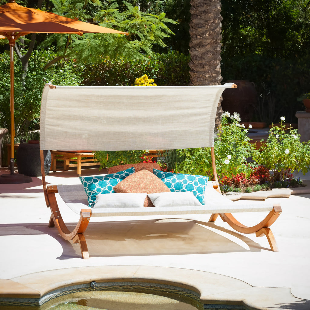 Rosalie Outdoor Patio Chaise Lounge Sunbed and Canopy – GDF Studio
