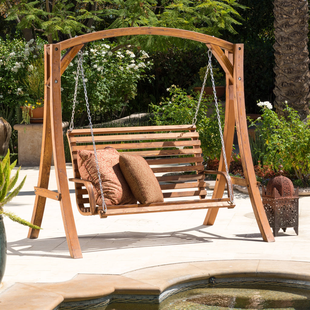 Wood lounge chairs qty 4 striped fabric with adjustable heights - Marlette Outdoor Wood Swinging Bench And Base