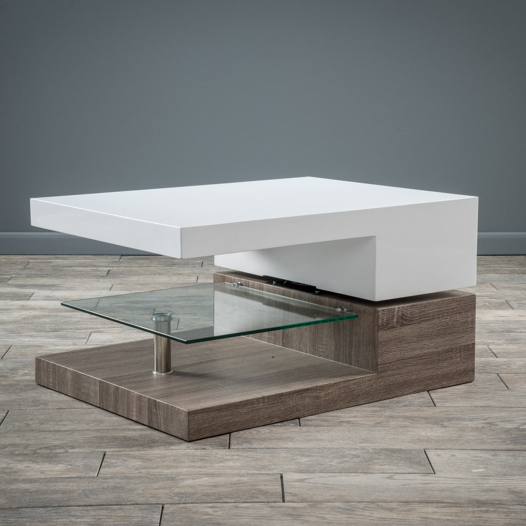Modern Swivel Coffee Table.Emerson Rectangular Mod Swivel Coffee Table W Glass