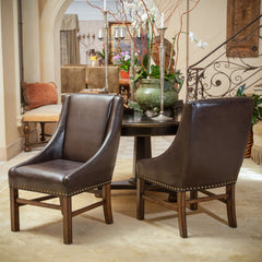 Claudia Brown Leather Dining Chairs (Set of 2)