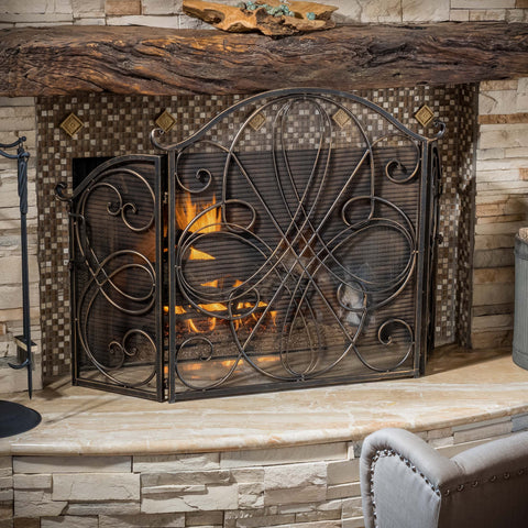 Rosalinda Black Gold Finish Floral Iron Fireplace Screen