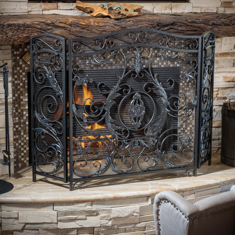 Mariella Black Silver Finish Floral Iron Fireplace Screen