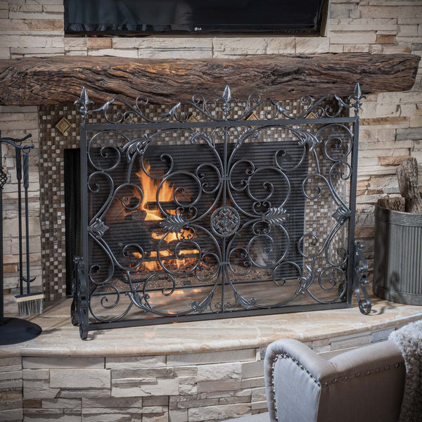 Darcie Black Brushed Silver Finish Wrought Iron Fireplace